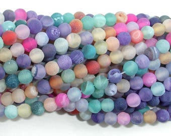 Frosted Matte Agate - Multi color, 4mm(4.3mm) Round Beads, 15.5 Inch, Full strand, Approx 95 beads, Hole 0.8mm (122054259)