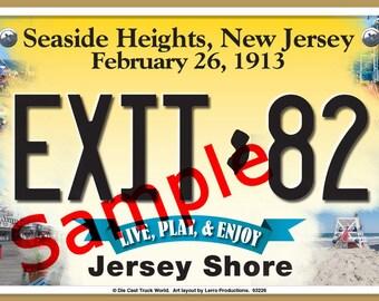 Seaside Heights, New Jersey (NJ) Garden State / Jersey Shore / Seaside Resort Novelty License Plate Design/ Man Cave/ Beach House / Rec Room
