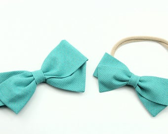 Baby bow, fabric bow, Teal Bow, Cream pin dot, toddler, baby girl, nylon headband or clip