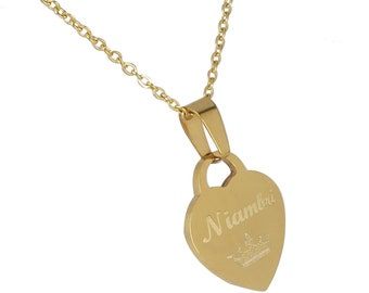 Custom Engraved Necklace: Engraved Heart Necklace, Bridesmaids Jewelry, Necklace with Name, Meaningful Necklaces, Heart Necklace for her