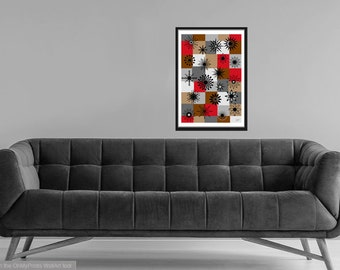 Time Block Mid Century Atomic Clock Designed Art Print in Various Color Options and Custom Sizes