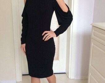 Original Open Shoulder Dress • Unique Extravagantly Elegant Black Dress • Designer Dress • Party Dress • Marsiybell Signature Design MB02D