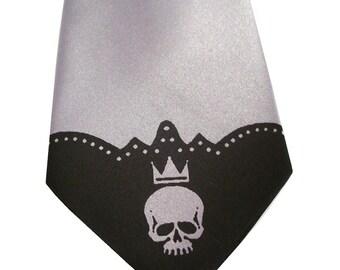 Skull necktie by RokGear mens microfiber tie custom colors available print to order