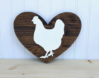 Wood Heart Sign with Hand Cut Wood Chicken