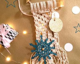 Decoration macrame-star paper-Decoration textile-paper cut-out hand-made in France-weaving modern-made hand-idea gift decoration