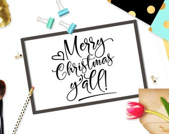 Merry Christmas Yall svg cutting file Digital sign Quote Svg file Cricut svg design Christmas svg Winter Cut files Xmas clip art svg eps DXF