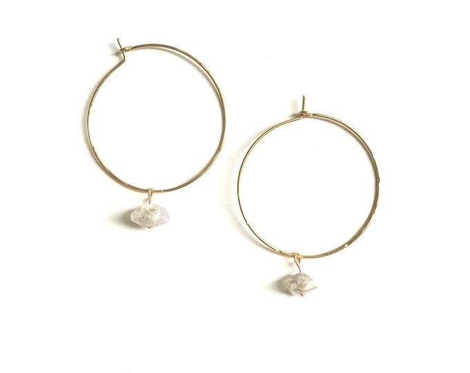 Lemuria Diamond Latch Hoops - Aura Herkimer Quartz Brass Silver Dainty Earrings, Wedding Jewelry, Minimal, Crystal Earrings