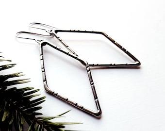 Diamond Shaped Earrings, Sterling Silver Long Dangle, Modern Earrings Statement Geometric - Ti' An