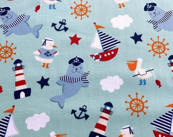 Nautical Fabric, Fun Summer kids fabric 100% cotton fabric for Quilting and general sewing projects.