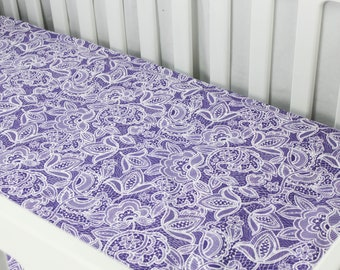 Fitted Crib Sheet or Change Pad Cover - Purple with White Lace