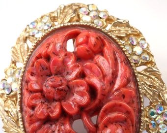Faux Coral Brooch and Pendant, Vintage 1950s