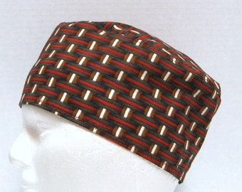 Mens Scrub Hat, Skull Cap or Surgical Cap in Woven Shades of Brown