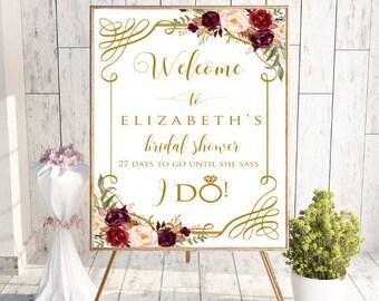 Gold Welcome Bridal Shower Sign, Floral Wedding Bridal Shower Decor, Bridal Shower Welcome Sign, Printable Bridal Shower Sign, I Do, #LC