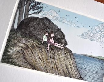 Sleeping Bear Bluff 11x14 Matted Print - Limited Edition Archival Art Print- Legend of the Sleeping Bear - Book Illustration - Black Bear