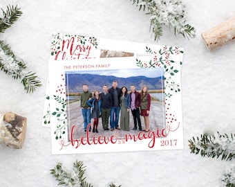Christmas Card Template - Believe in the Magic Card - Christmas Template for Photoshop - Photographer Template - Digital Design