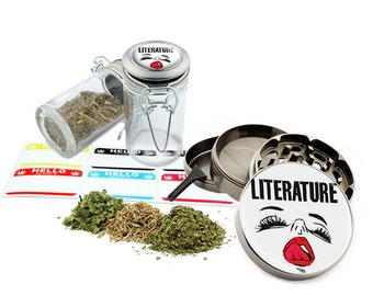 "Literature - 2.5"" Zinc Alloy Grinder & 75ml Locking Top Glass Jar Combo Gift Set Item # 110514-0026"
