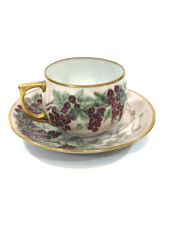 Hand Painted Tea Cup Saucer, Purple Berries Currants,Gilded Handle Rims, MZ Altrohlau Czech China, Artist Signed 1940, Vintage Teacup