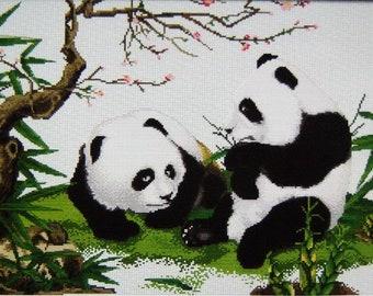 Pandas with Bamboo - Cross stitch Pattern Chart needlework counted ,Print paper shipped by mail