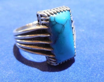 Size 11 Handmade Turquoise and 925 Sterling Ring Starburst Very Fine Turquoise