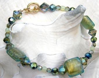 Beaded Bracelet - Aqua and Chartreuse