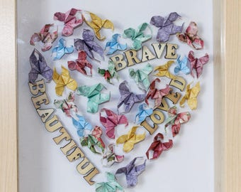 Inspirational, unique gifts, mothers day gift, heart, gift for mom, anniversary, custom, home decor, wife gift, wall art, butterflies, 3d
