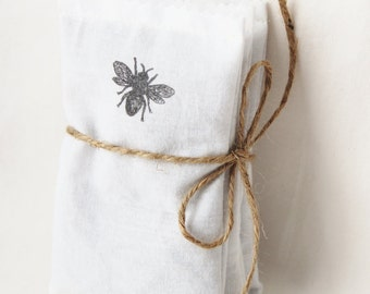 Organic Lavender Sachet Bags, Eco Friendly Wedding Favors, Mint to Be Honey Bee Shower Favor for Secret Garden Farm Wedding