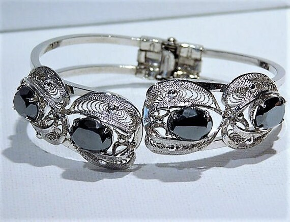 Sorrento Hematite Clamper /  Bracelet / Mid Century  /  Italian Jewelry Designer / Fashion