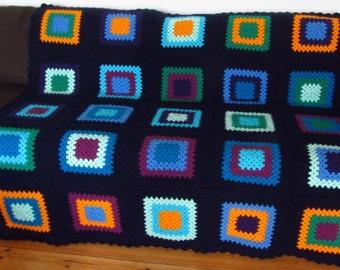 Crochet Blanket Crochet Afghan Blanket Granny Squares Blanket Boho Blanket Colorful Afghan Blanket FREE SHIPPING