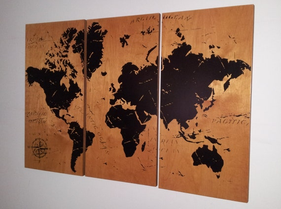 Vintage WORLD MAP Screen Print Wood Painting Wall Art On - Vintage world map on wood