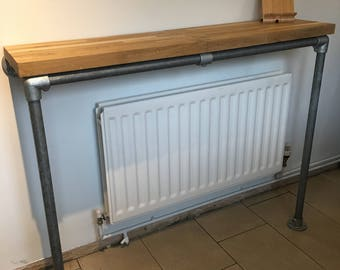 Oak Breakfast Bar with Scaffold Legs