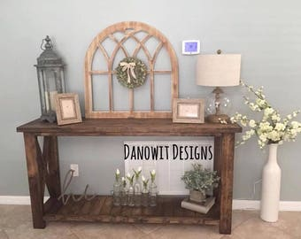 Planked Bottom Rustic X Console/Entry Table (Local Pick up/Delivery Only!)