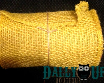 """Burlap - Yellow Ribbon 5.5 """" - Home Decor - Bows - Crafts - Weddings - Baby Showers"""