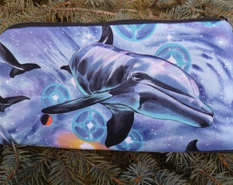 Dolphin pencil case, zippered bag, crochet hook case, knitting notion pouch, The Deep Scribe