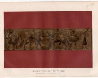 1894 bronze war relief print original antique ancient culture lithograph - wall frieze of horse warriors
