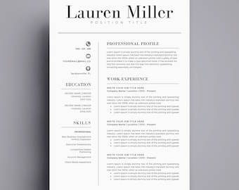 Minimalist resume etsy resume template cv template for word cover letter two page resume teacher yelopaper Image collections
