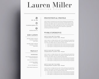 Resume Template / CV Template For Word, Cover Letter, Two Page Resume,  Teacher