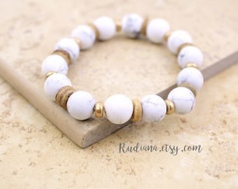 Howlite Bracelet, White Howlite Stone Bracelet, Howlite Elastic Bracelet,Birthday Gift -6008
