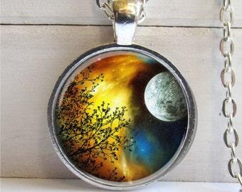 Tree Pendant, Art Pendant, Tree Necklace, Full Moon Tree Charm