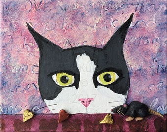 Original Silent Mylo Tuxedo Cat Valentine Painting -  Small Original  Cat Painting - 3D Mixed Media Painting - Cat with Mouse Valentine Art