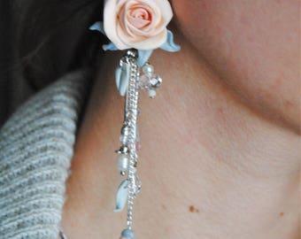Wedding earrings, Rose earrings, flower jewelry, clay flower earrings, polymer clay roses,drop earrings