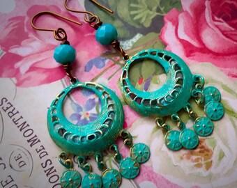 Vintage Bohemian Coin Dangle Earrings - Boho Gypsy - EPSTEAM -Festival Wear - Hippie - Vintage Bohemian earrings- Dangle coin earrings
