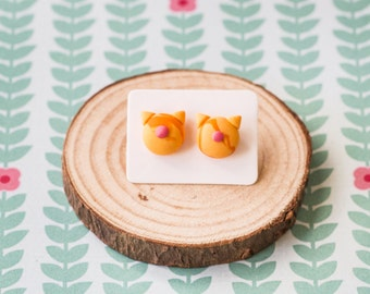 Handmade Polymer Clay Earrings: Crazy Cat Lady in Marmalade