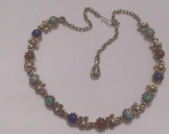 vintage gemstone necklet