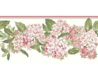 AK7438B Ashford House Blooms Hydrangea White, Pink, Green Border
