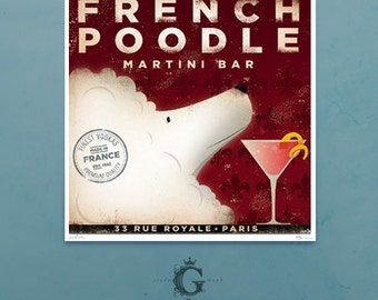 French Poodle Champagne bar art illustration giclee signed artist's print by Stephen Fowler