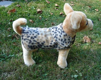 Dog Jacket -  Leopard Fleece Dog Coat- XX Small- Or Custom Size