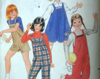 Vintage 80's Butterick 3989 Sewing Pattern, Girls Overalls, Jumper & Embroidery Transfer, Size 12, 30 Breast, Uncut FF, 1980's