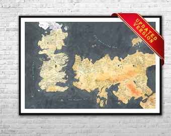 Westeros Map and Essos map - Game of Thrones map Archival Paper Canvas Print GOT Wall Art Game Of Thrones map poster Ice and Fire map poster