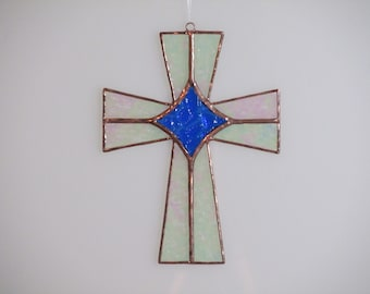 Stained Glass  Celtic Cross Suncatcher - Price Includes Shipping