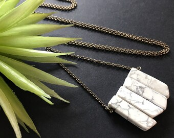 White Marble Pendant Necklace // Natural Stone Necklace // Long Marble Necklace // Modern Necklace // Stone Pendant Necklace // Unique